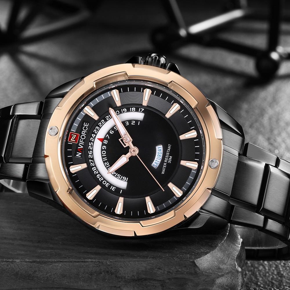 f35cf367ac8 NAVIFORCE Moda Relógios de aço inoxidável Homens 3ATM Quartzo resistente à  água Luminous Casual Man Relógio de pulso Relogio Musculino masculino