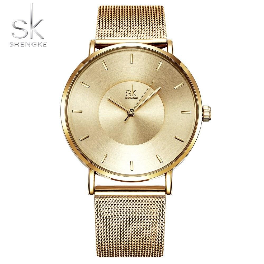 342f7a19a540b SK سيدة ساعة اليد ذات جودة عالية رقيقة جدا الكوارتز ماء بسيطة حزام الفولاذ  المقاوم للصدأ