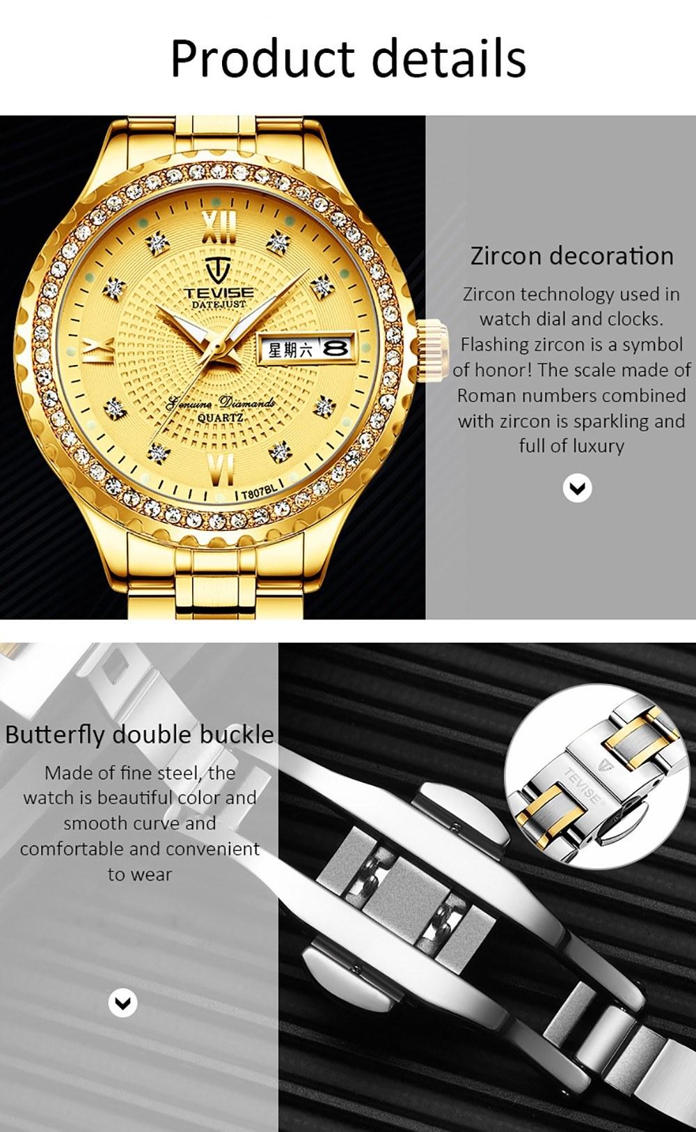 TEVISE T807BL Woman Quartz Watch