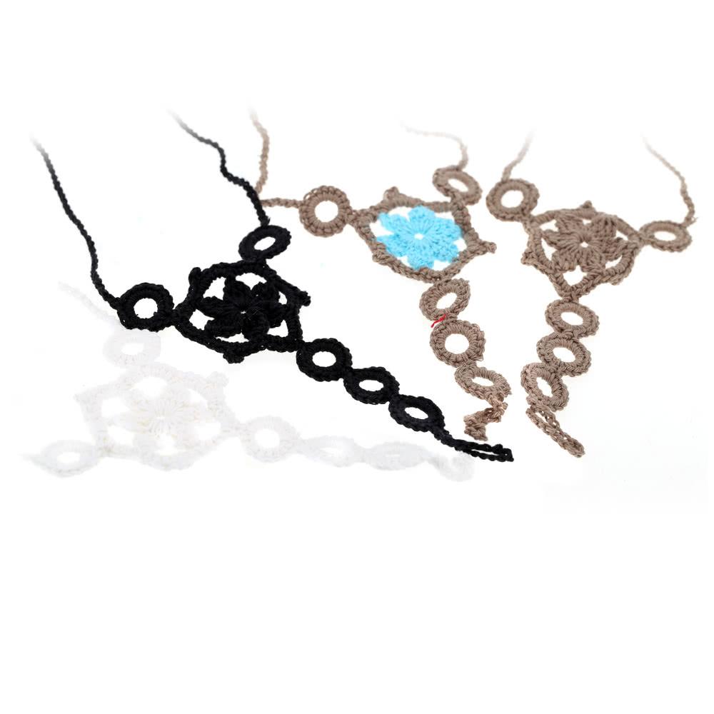 Hilo de algodón Crochet pie cadena pulsera tobilleras flor patrón ...