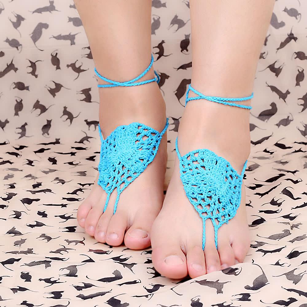 Azul algodón hilo Crochet pie cadena pulsera tobilleras reticular ...