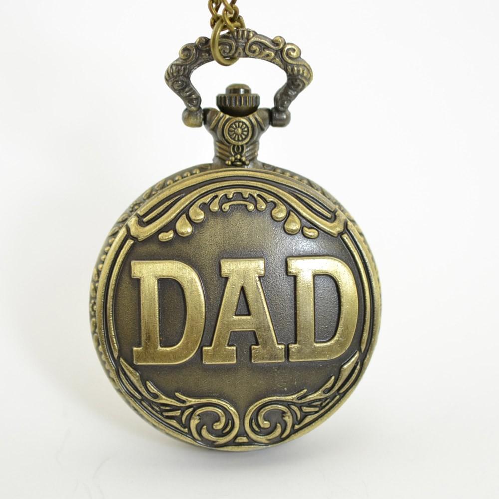 b4aeb1b275b Relógio de quartzo de homens antigos vintage Bronze gravado homens bolso  relógio com pingente corrente Natal pai presente do dia ouro - Tomtop.com