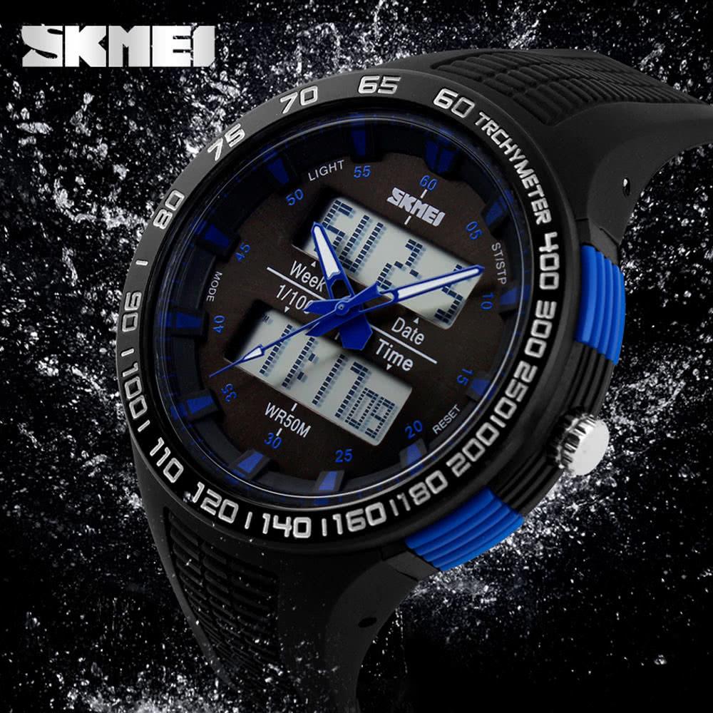cae23204f2d3 SKMEI Excelente 5 ATM resistente al agua Hombres Reloj de pulsera  analógico-digital de la buena calidad deportes al aire libre reloj con luz  de fondo ...