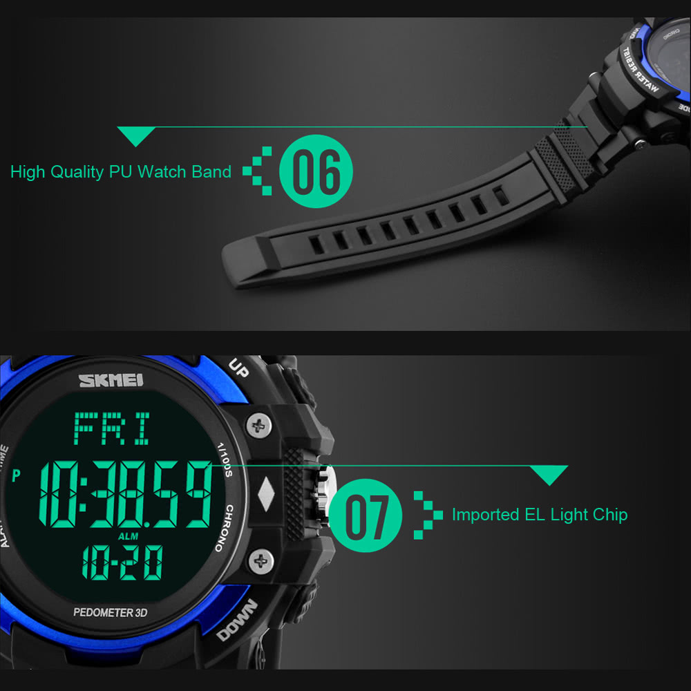 Skmei Men Sports Watches 3d Pedometer Heart Rate Monitor Calories Counter 50m Waterproof Digital Led Mens Wristwatches Men's Watches