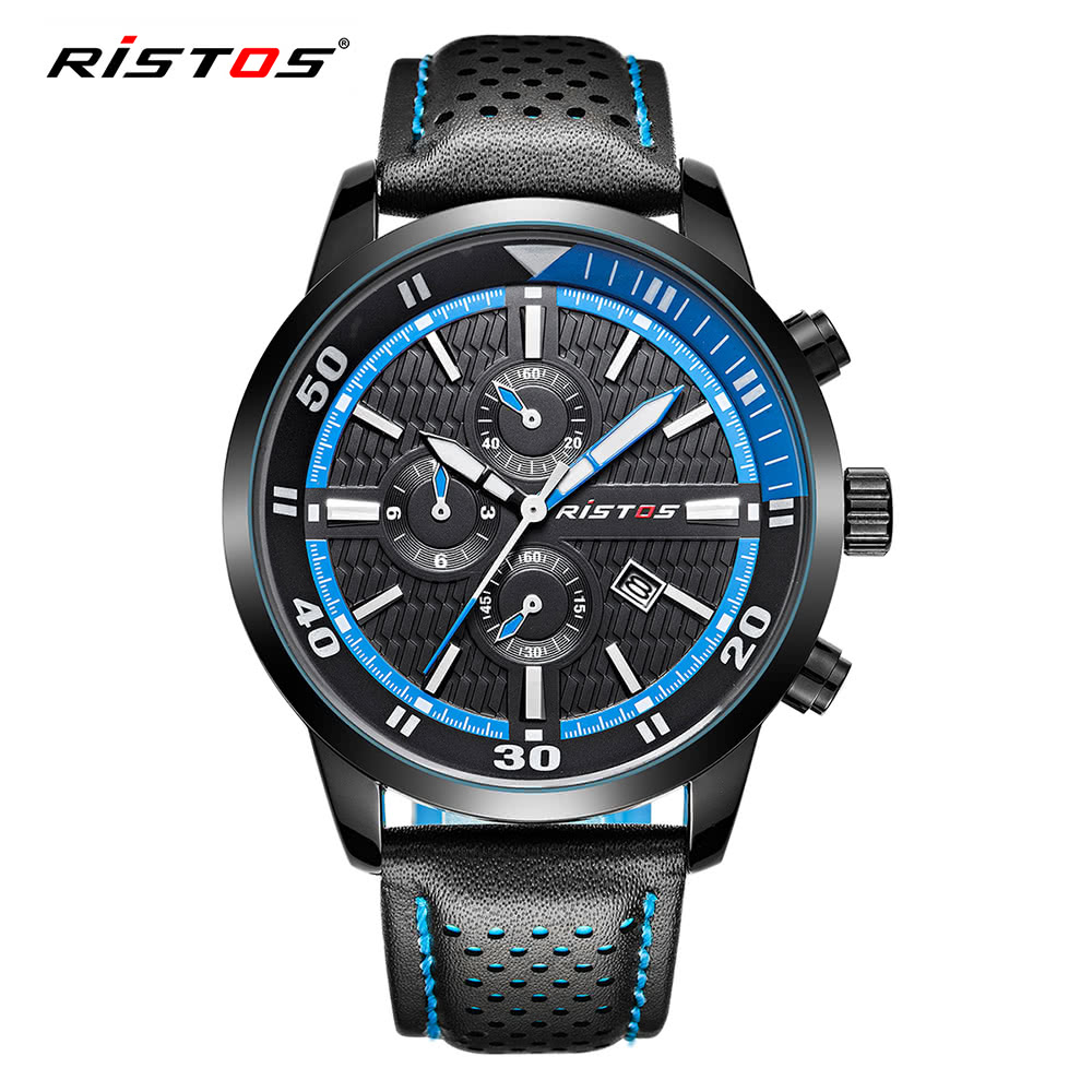 RISTOS 2017 Luminous Sports Military Style Men Watch Quartz Water-Proof Man Casual Wristwatch PU Leather Strap Masculino Relogio + Box blue Online Shopping ...