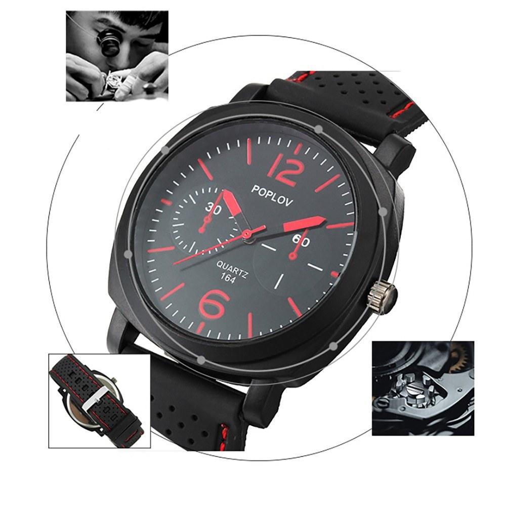 Quartz Watch Men Silicone Strap Wrist Watch Casual Sport Male Clock