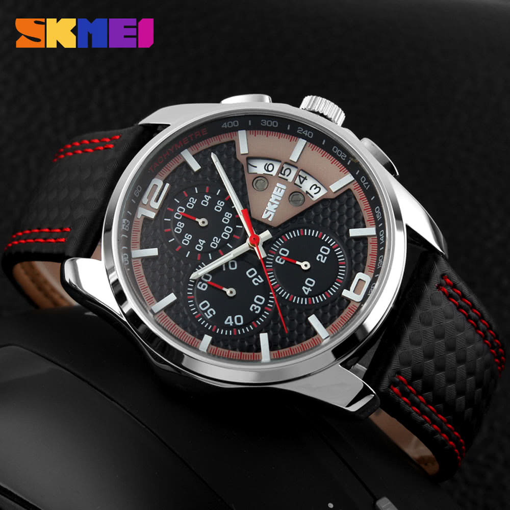 SKMEI New Men Sport Watch Leather Fashion Waterproof Date Luxury Business Man Chronograph Watch Black red Online Shopping | Tomtop