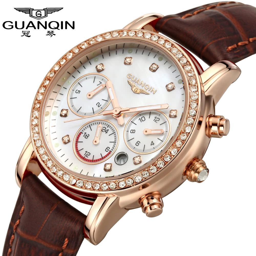 8dc56756690 Nejlepší GUANQIN 2016 Dámské luxusní hodinky značky Quartz Dress ...