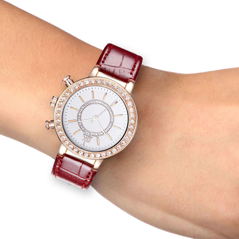 8f3fc5209b3 Diamante SK Moda Luxo resistente à água Quartz Mulheres relógios analógicos  PU Ladies Correia de couro Casual Relógio de pulso caso de ouro Rose  vermelho ...