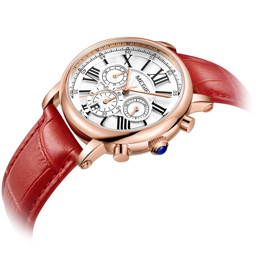 megir mode luxe femmes montres 3atm tanche quartz femme montre bracelet chronographe calendrier. Black Bedroom Furniture Sets. Home Design Ideas