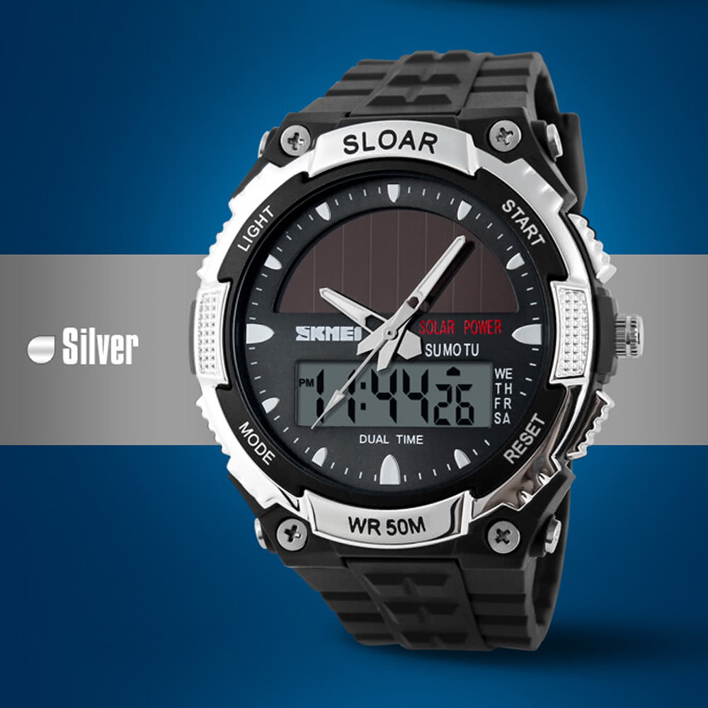skmei fashion solar power dual time montre de sport militaire de bracelet tanche pour hommes et. Black Bedroom Furniture Sets. Home Design Ideas