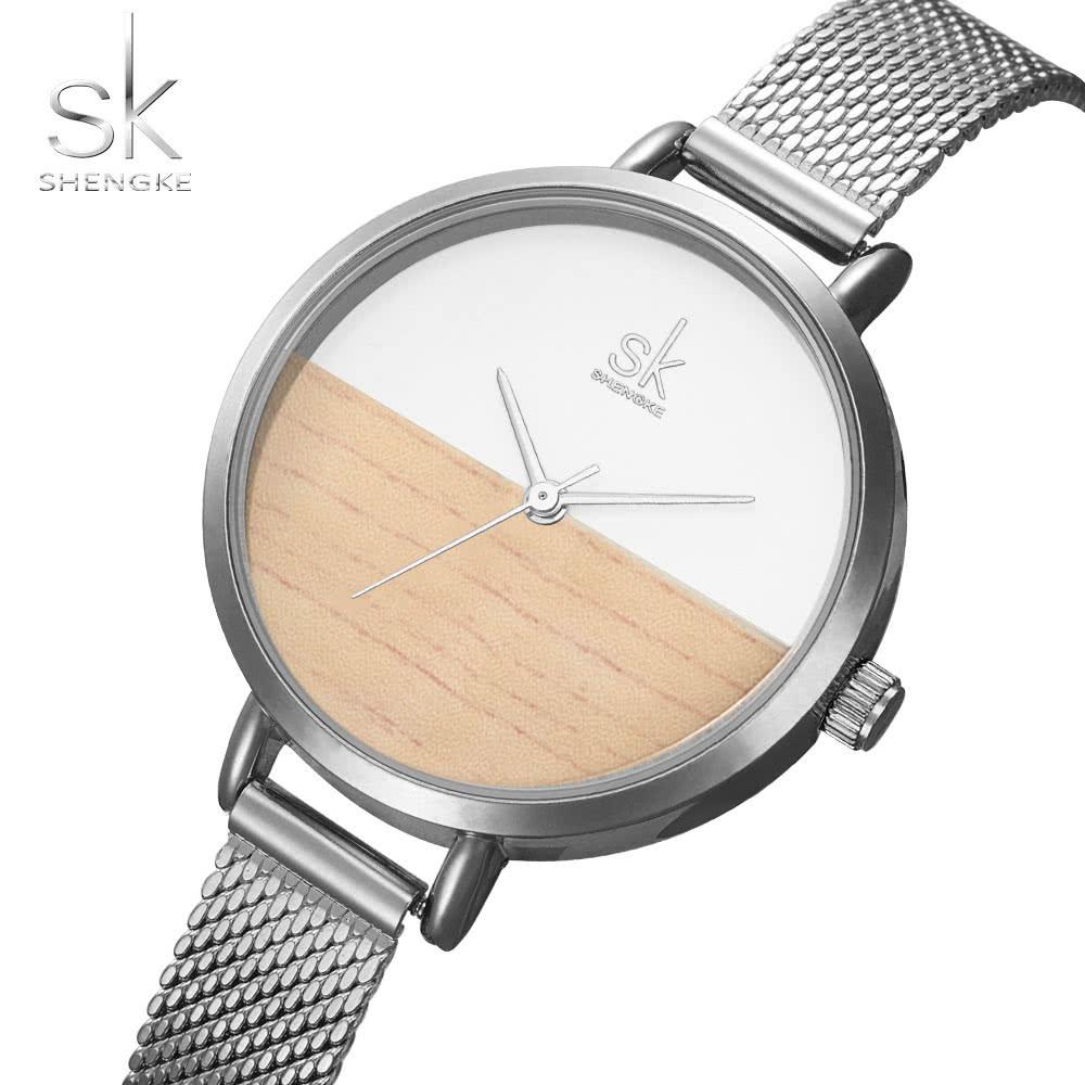 c96bc0a1472 SK 2017 Simplicity Mesh Stainless Steel Relógios femininos Ultra Thin Dial  3ATM Quartz resistente à água Relógio de pulso casual Rose Gold   Silver  prata ...