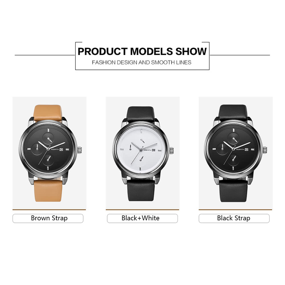 ce7f2c2e803e REBIRTH Brand Fashion PU Leather Quartz WOmen Watches ( Item   J2190BW )