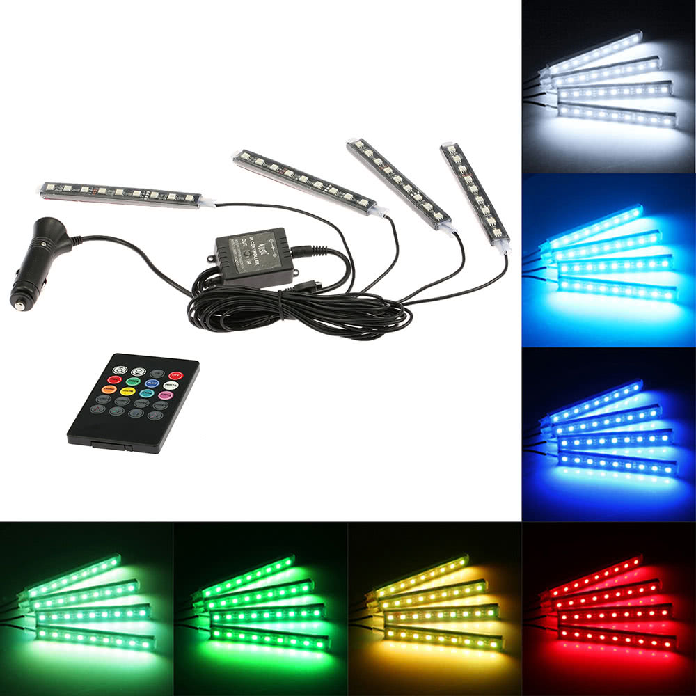 Wireless Remote Music Voice Control Interior Atmosphere Light Bar Car Floor Dash Led