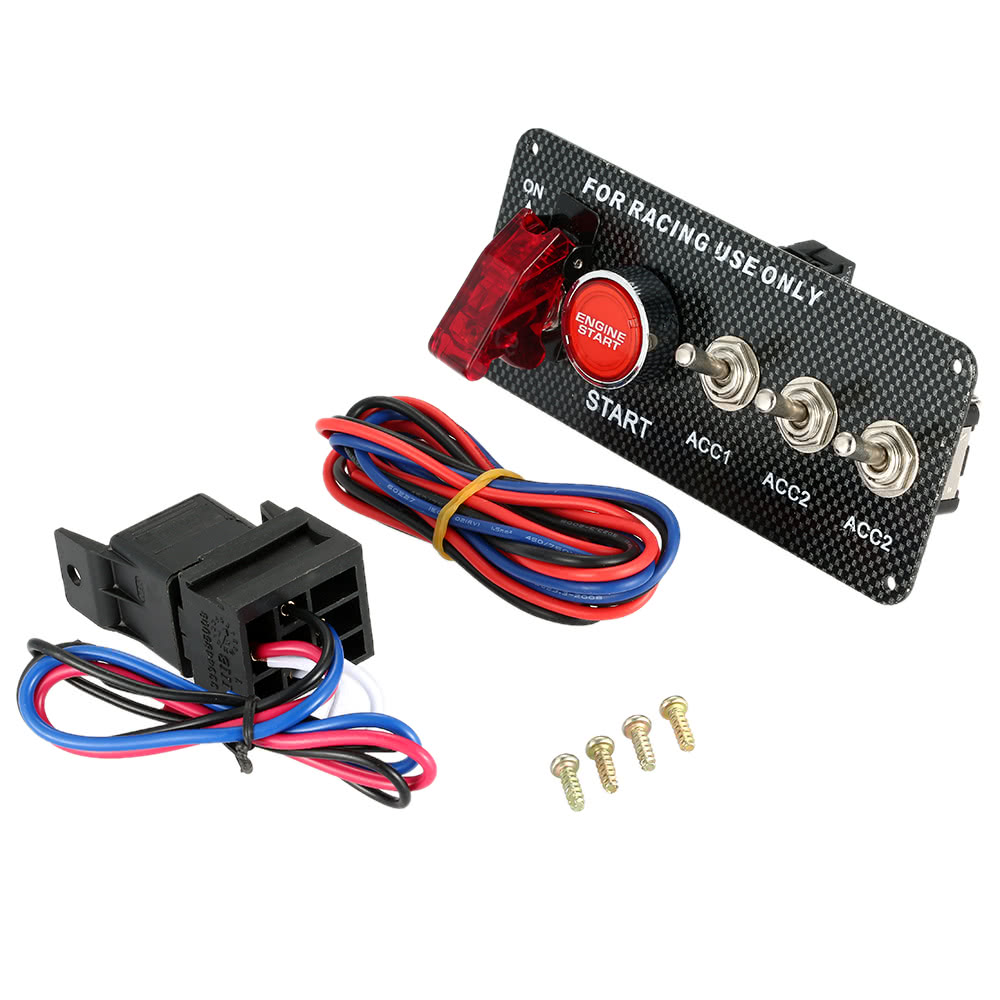 Racing Style Car 12v Ignition Switch Engine Start Push Button 3 Race Panel Wiring Toggle With Indicator Light Diy Modification Accessory