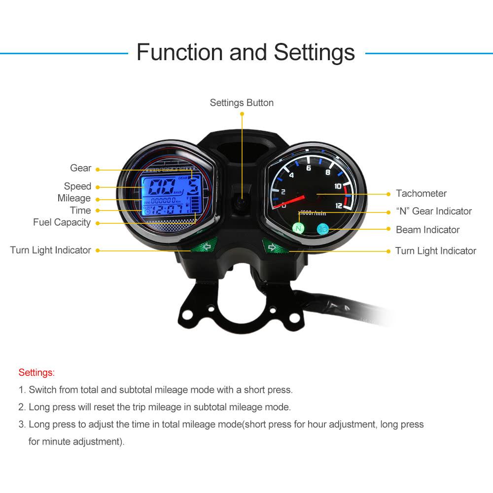 LCD Digital Backlight Motorcycle Odometer Speedometer Tachometer Gauge for  Honda CG125 Series
