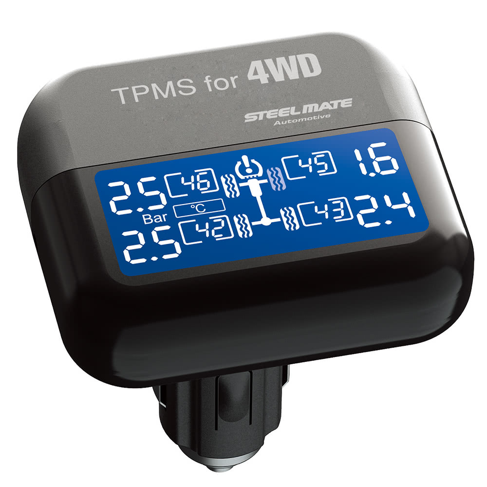 Steelmate TP-03S TPMS Tire Pressure Monitoring System with Adjustable LCD  Display Cigarette Plug 4 Valve-cap External Sensors Bar PSI Unit