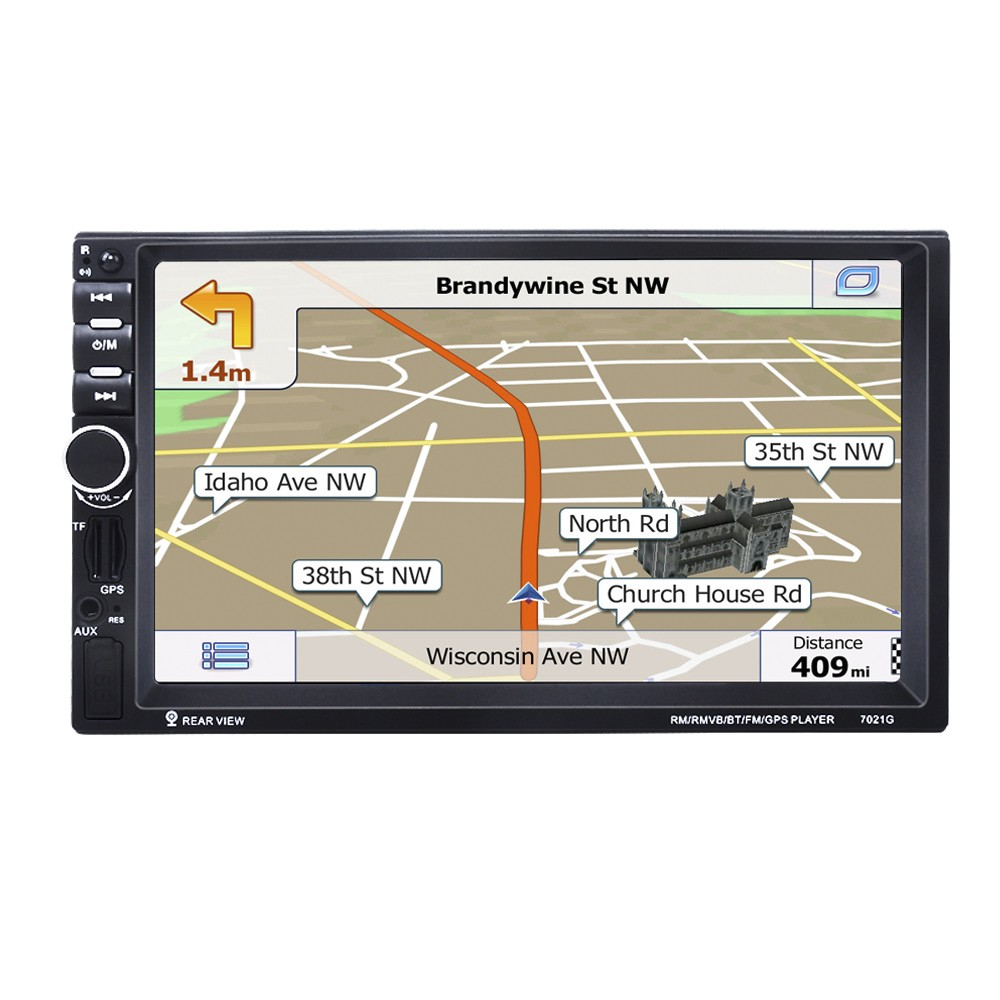 7021G 7 inch 2 Din Car Video Player MP5 Player BT GPS Navigation FM Radio  Steering Wheel Remote Control Support Rear Camera Sales Online europe -