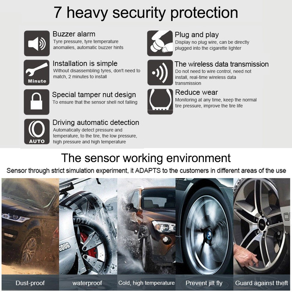 Car Wireless TPMS Tire Pressure Temperature Monitoring System Bar PSI Unit  with USB Charging Interface