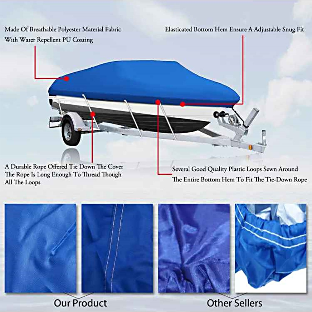 Best 14-16FT Boat Cover Waterproof Silver Reflective Fits V-HULL #1 Sale  Online Shopping | Cafago com