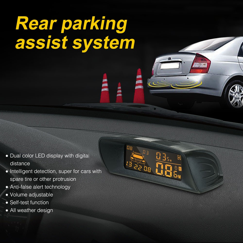 Car Rear View Radar Parking System Reversing Buzzer Led 6 Reverse Sensor Circuit For Security