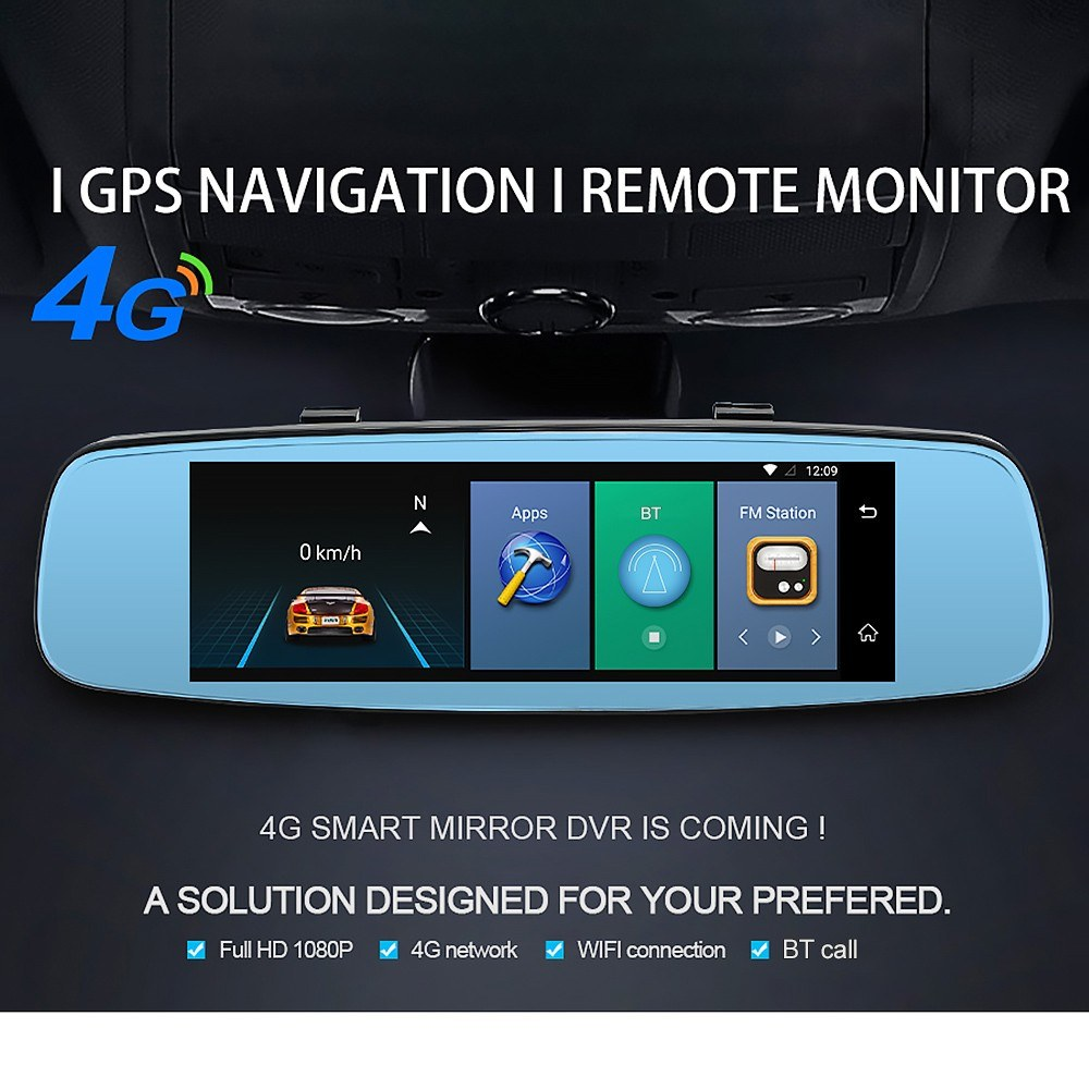 Junsun Car DVR Camera Video Recorder Rearview Mirror GPS Navigation Two  Cameras Dash Cam with 7 86 inch Touch Super Screen Display Phone APP Remote