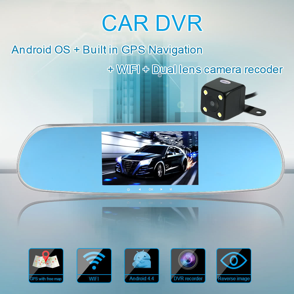 5 1080p android smart system car rearview mirror built in gps navigation wifi dual lens car dvr. Black Bedroom Furniture Sets. Home Design Ideas