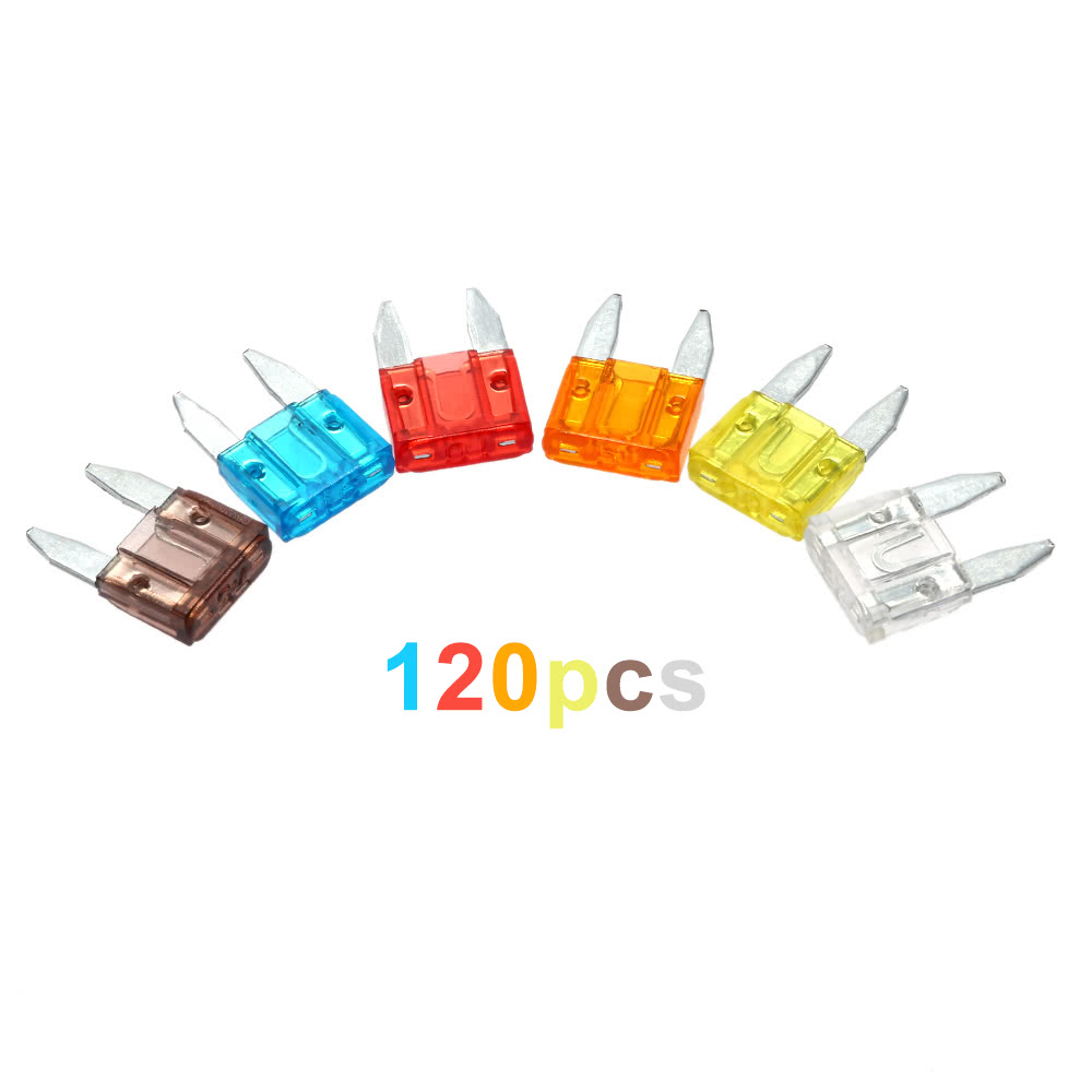 120pcs Assortment Car Mini Fuse 5a 7 5a 10a 15a 20a 25a 30a Amp Zinc Auto Blade Type Fuses With
