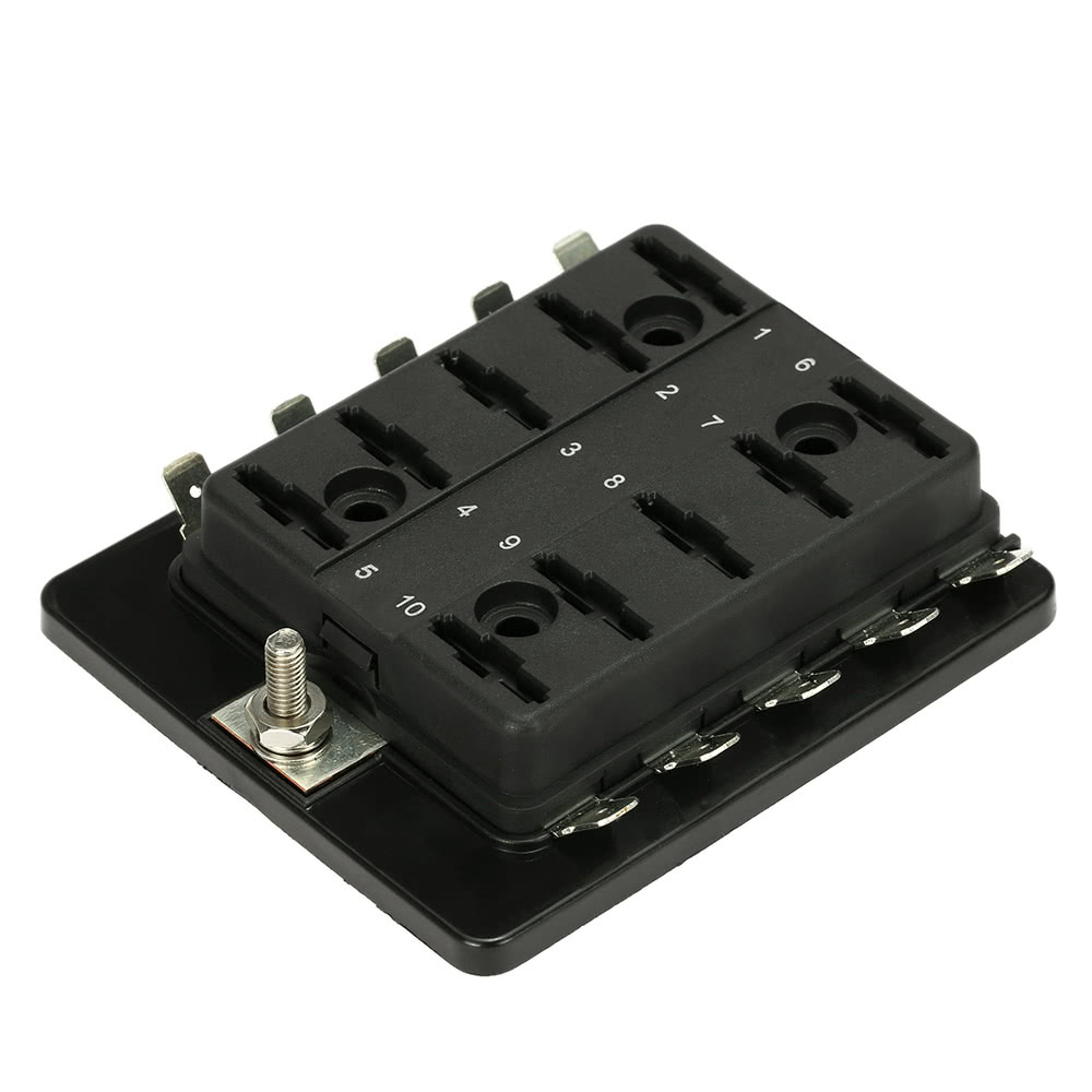 10 Way Blade Fuse Box Holder with Plastic Cover for Car