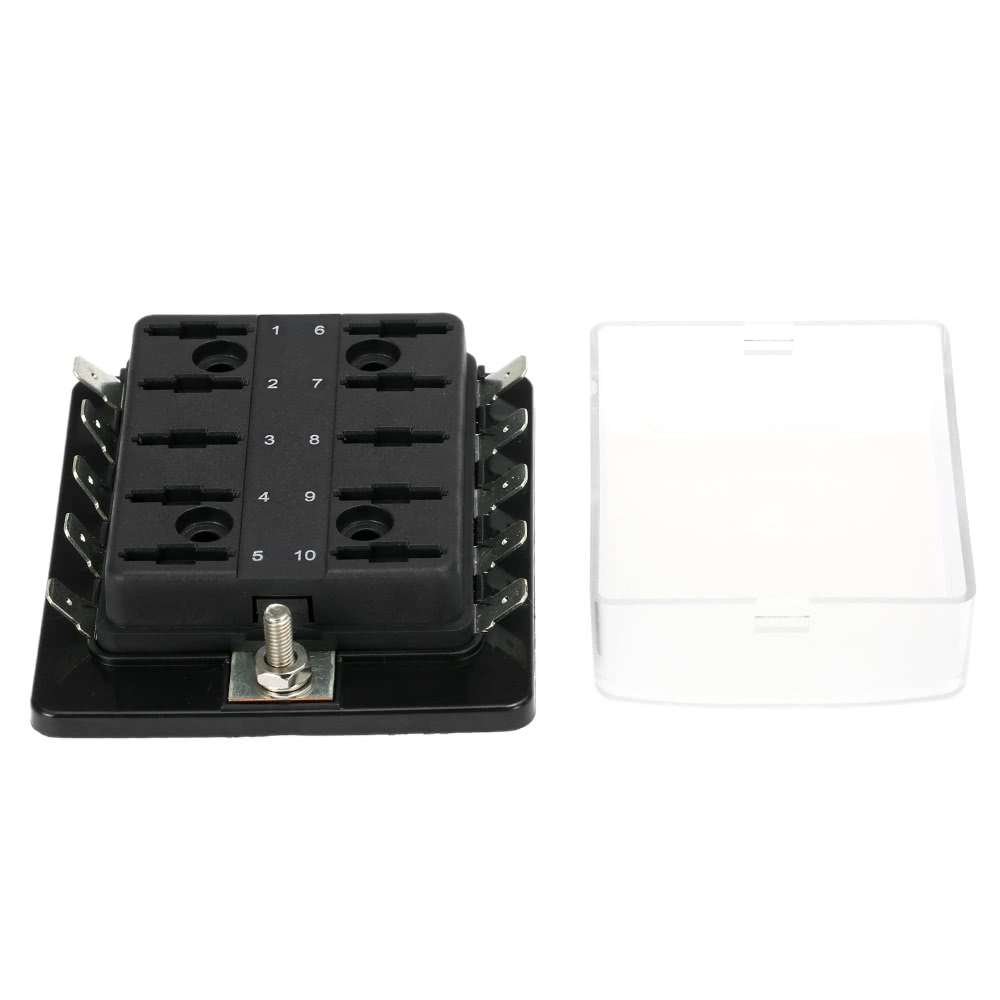 Way blade fuse box holder with plastic cover for car