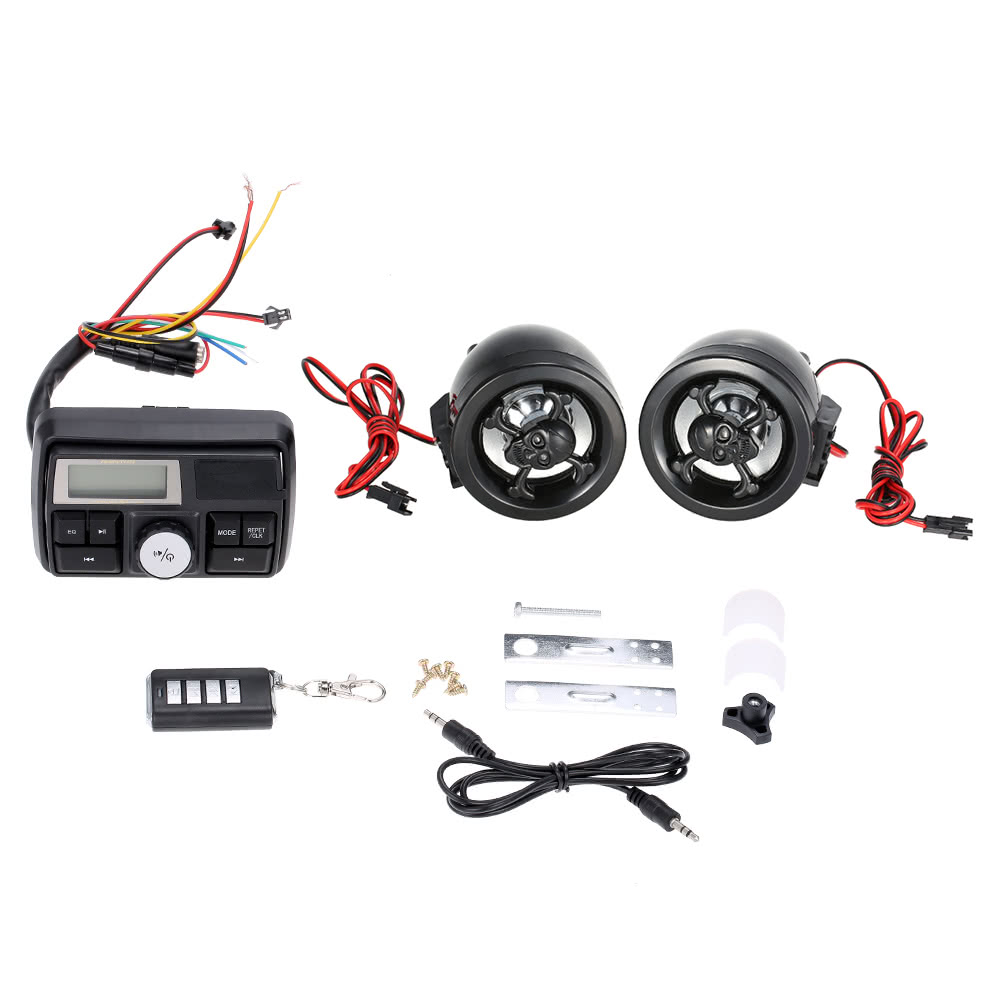 waterproof motorcycle handlebar audio amplifier system 3 u0026quot  stereo speaker fm mp3 usb sd aux with