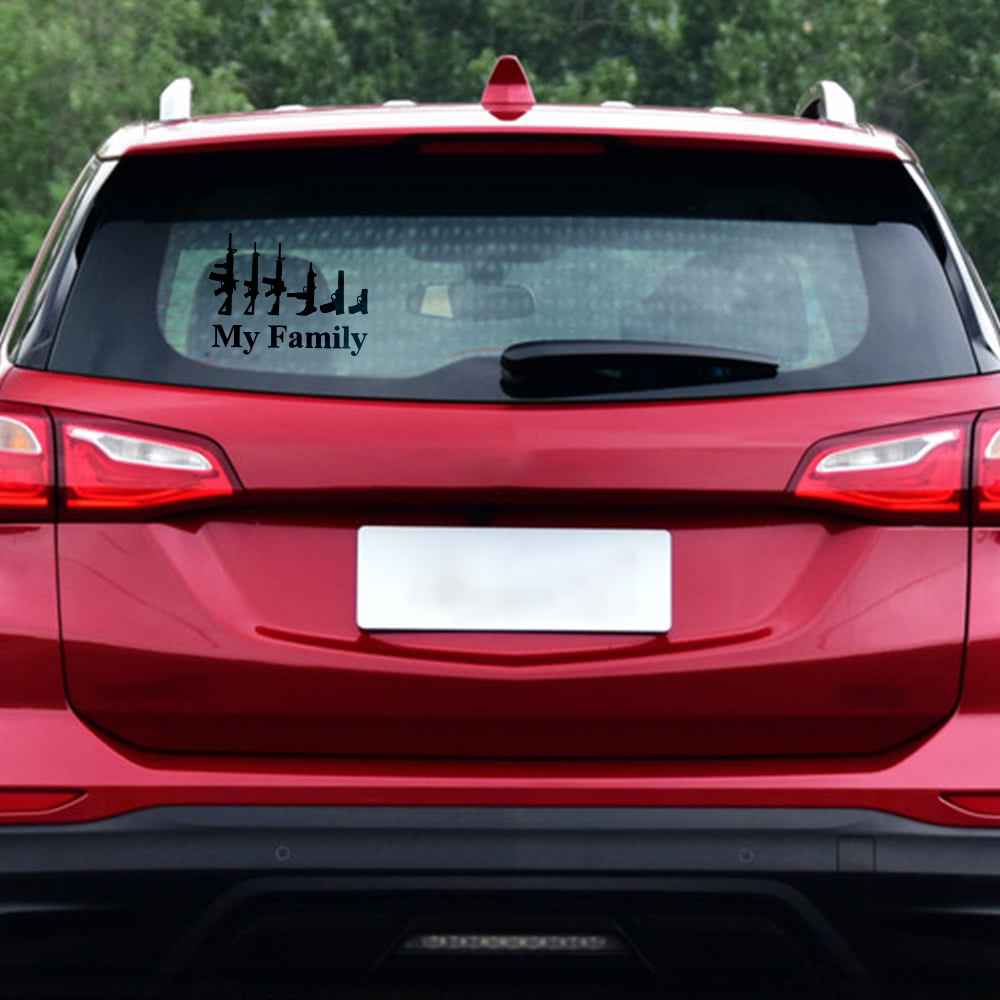 My Family Cool Gun Pattern Car Waterproof Sticker Mechanic Outdoor Window Reflective Sheeting 3d