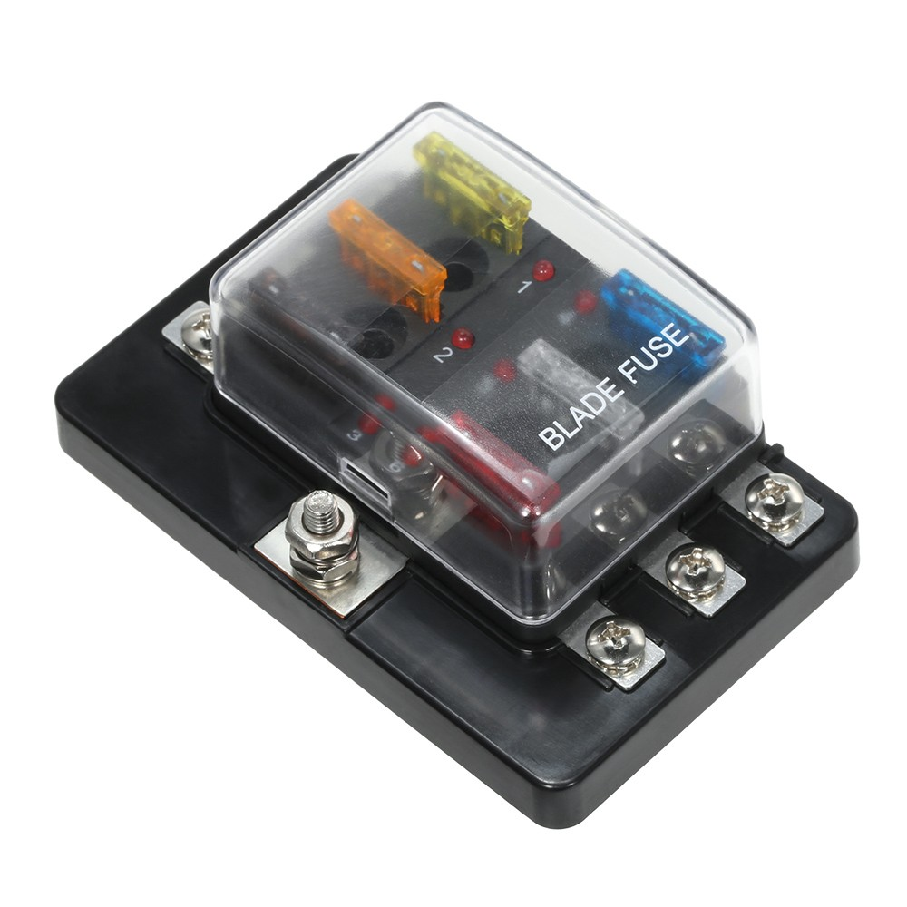 6 Way Blade Fuse Box With Led Indicator Block For Car Boat 12v Marine Caravan 24v