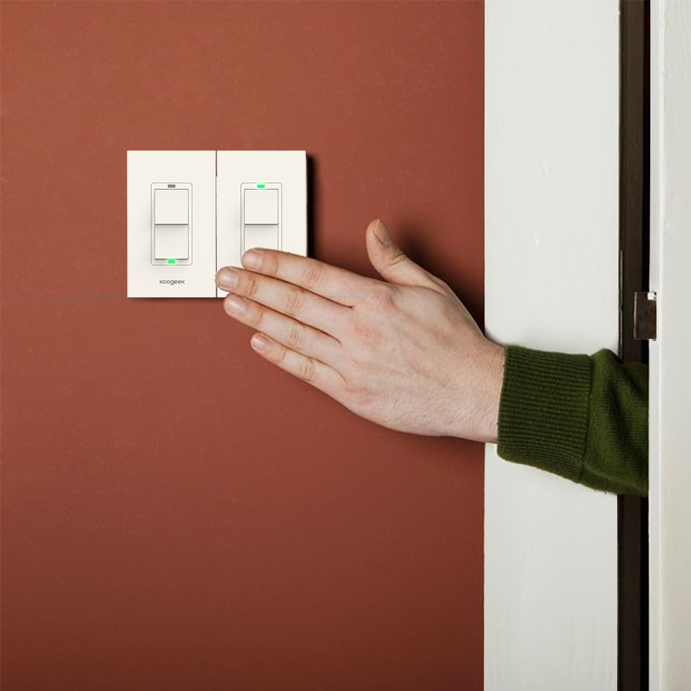Koogeek Two Gang Wi Fi Enabled Smart Light Switch Works With Apple One Way Wiring Diagram In Addition 3 Homekit Support Siri Remote Control Single Pole Wall On 24ghz Network