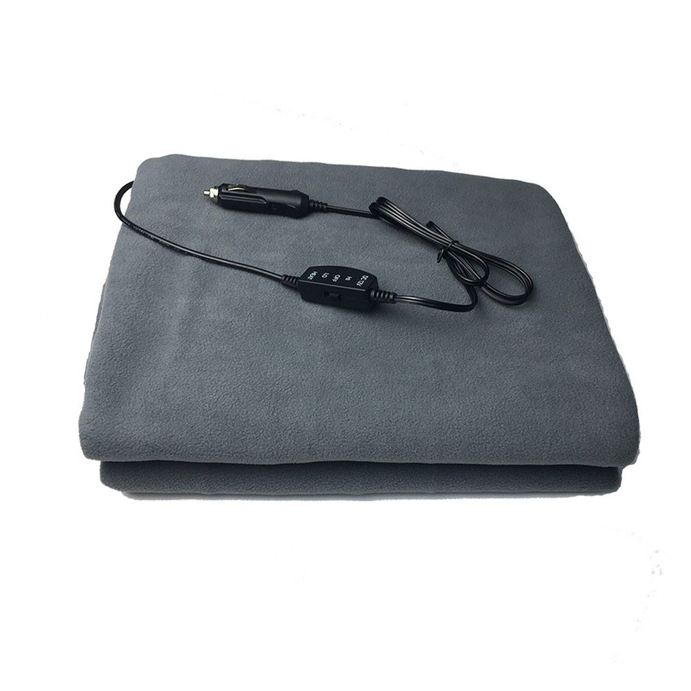 12V Car Heated Blanket Adjustable Safety Keep Warm Foldable Camping Soft Travel Insulation Electric Blanket