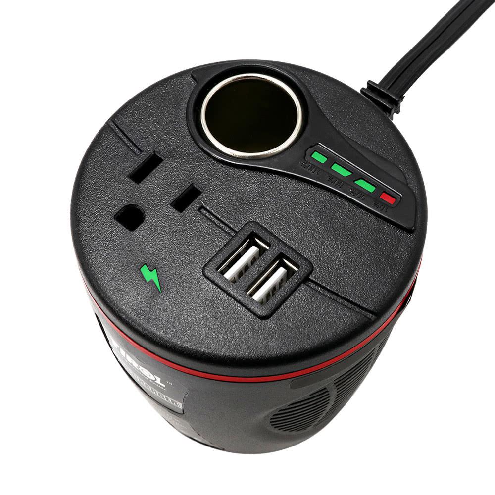TIROL 150W Car Power Inverter DC 12V 115V AC Converter 2.4A Dual USB Adapter Cigarette Lighter Socket