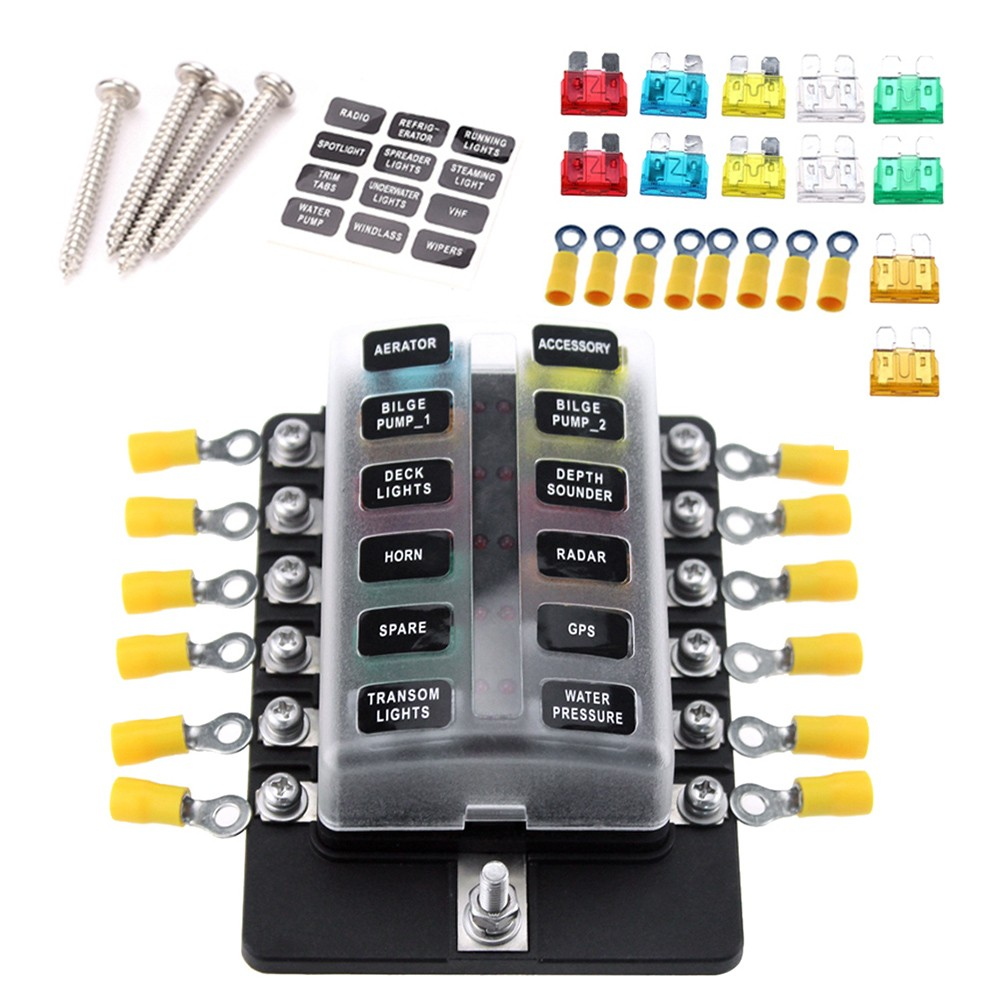 12 Way Blade Fuse Box Holder Blocks With Red Led Indicator Car 10pcs Fuses Terminals For Boat Marine Caravan Truck 12v 24v Sales Online Tomtop