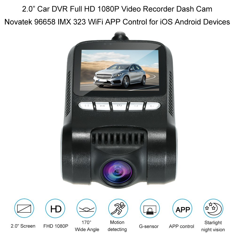 """2 0"""" Car DVR Full HD 1080P Video Recorder Dash Cam Novatek 96658 IMX 323  WiFi APP Control for iOS Android Devices Sales Online - Tomtop"""