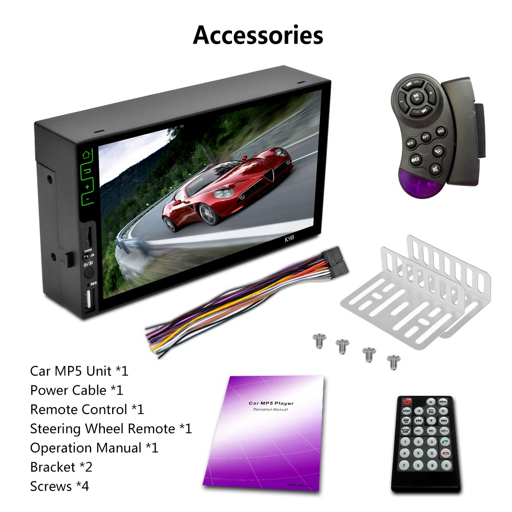 7 2 Din Hd Bt Car Mp5 Player Stereo Audio Rds Am Fm Radio Tuner Accessories Steering Wheel Remote Control With Camera