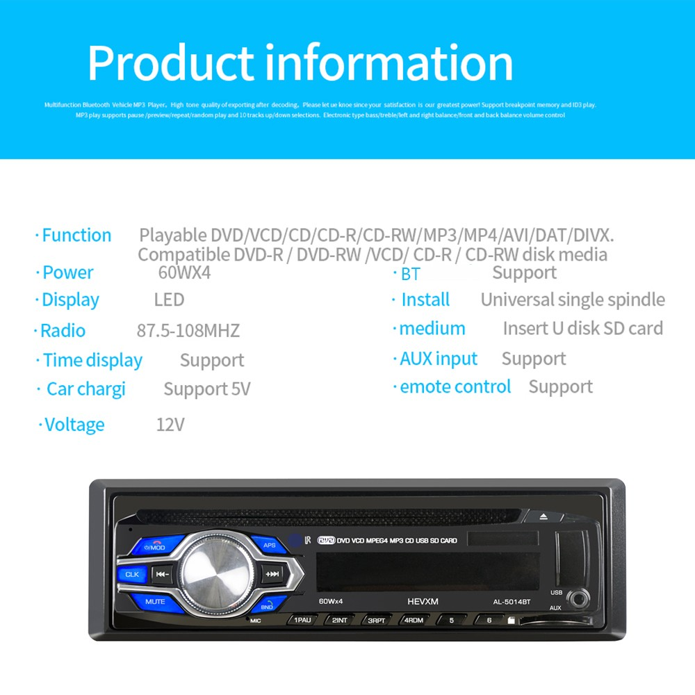 Single Din 12V Car DVD CD Player Vehicle MP3 Stereo Car Handfree Autoradio  BT Audio Radio 5014 Car-styling Wireless Remote Control