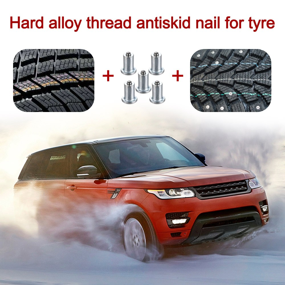 Tire Stud Small Screws Hard Alloy Snow Nail Anti-Slip Screws For Automobile Tire Stud Screws Auto Car Accessories 100 Pcs 8*11mm