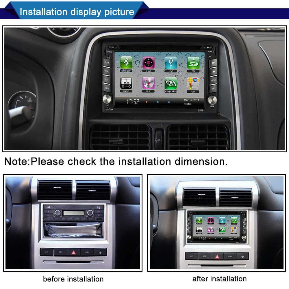 62 Universal 2 Din Hd Car Stereo Dvd Usb Sd Player Gps Navigation How To Installation A Please Install It With The Help Of Professional 3if You Are Unsure Whether This Model Is Suitable For Your Or Not Can Contact Our Customer