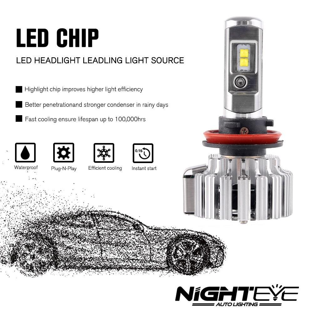nighteye 9000lm h11 h8 led headlight light bulbs replace
