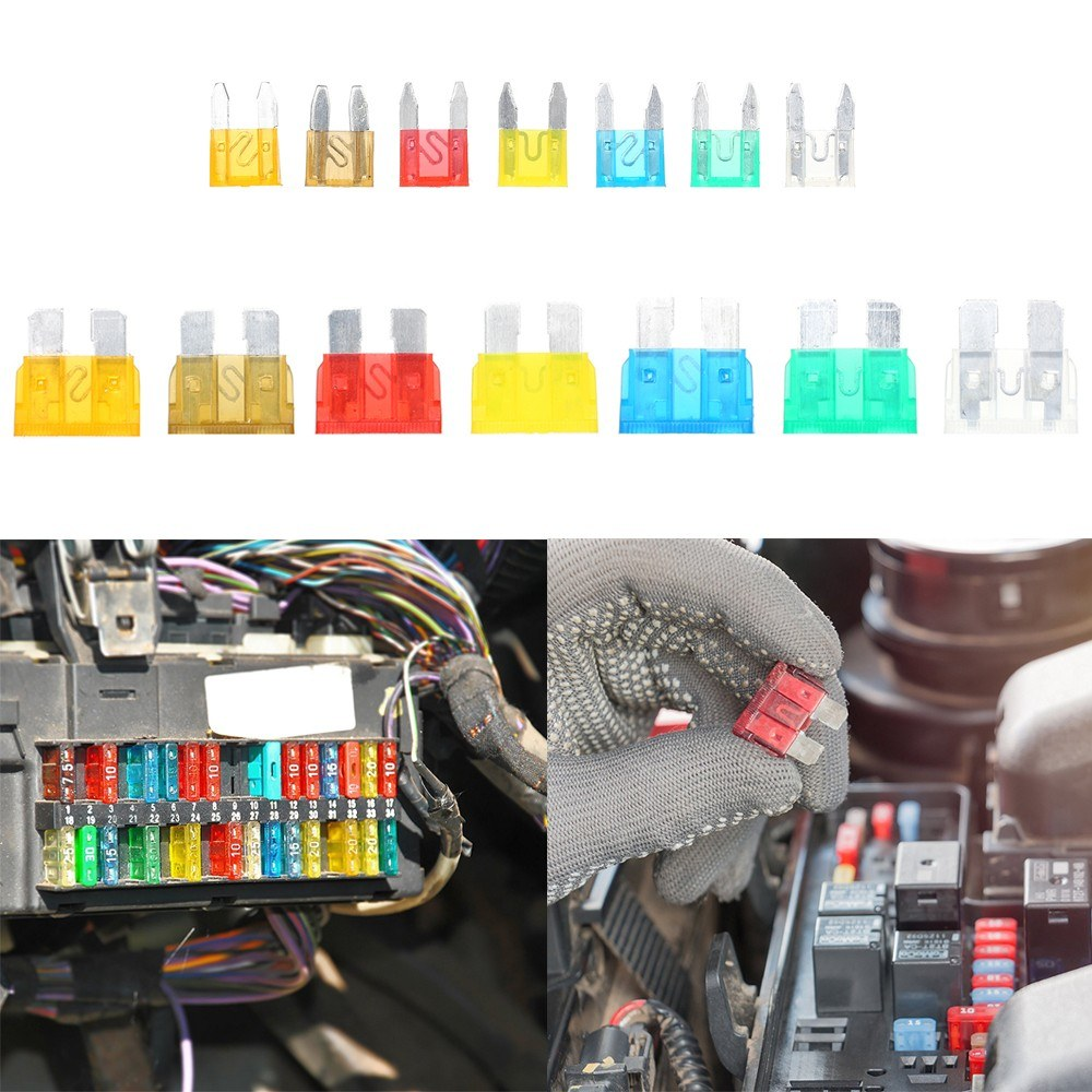 240pcs Mini Middle Size Fuse Blade Holder Box Car Vehicle Circuit 20 Amp Breaker Fuses Block Medium Small 5a 75a 10a 15a 20a 25a 30a 7 Sizes Kit