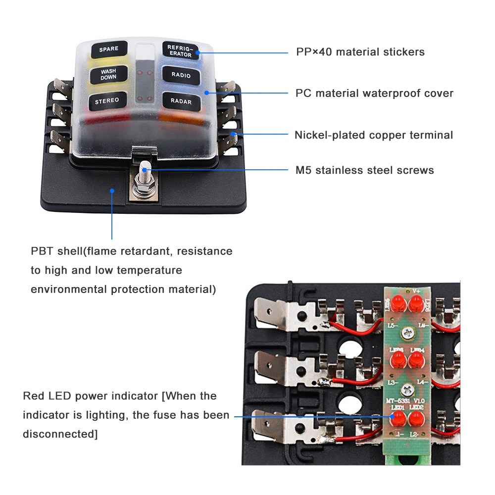 6 Way Blade Fuse Box Holder With Led Warning Light 12 Fuses For Car Terminal 1 4 Screws Connecting Sticker