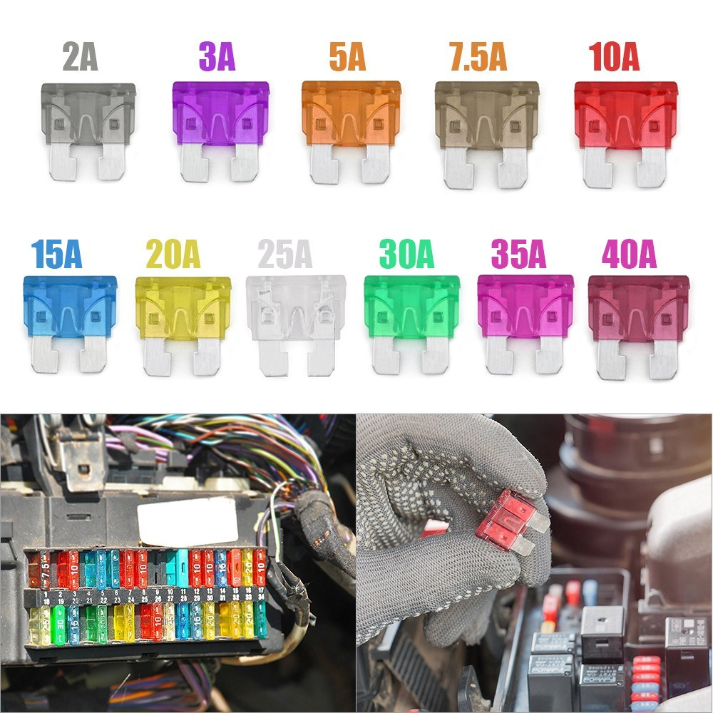 140pcs 2a 40a Automotive Standard Medium Auto Holder Car Ato Plug In Motorcycle Electronic Fuse Box Blade Assortment Boat Truck Secondary Size Replacement Fuses Kit