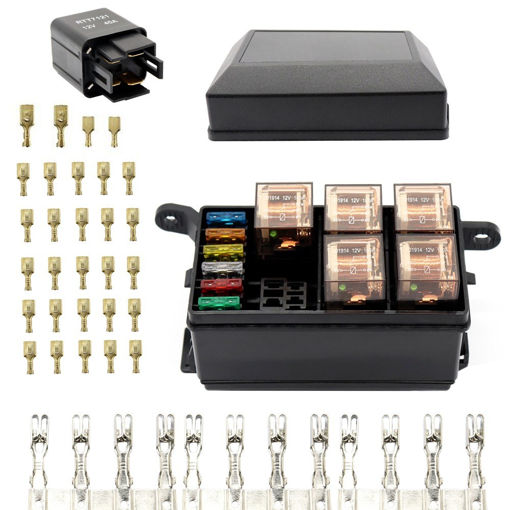 12 Slot Relay Box 6 Relays Slots Atc Ato Standard Fuses Holder Universal Automotive Fuse Block With 6pcs For And Marine Use Sales Online
