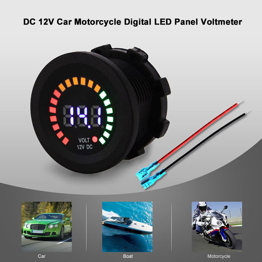 Dc 12v Car Motorcycle Boat Digital Led Panel Voltage Display Volt Meter Voltmeter Auto Circuit Tester 6v 24 Volts Gauge Test Sales Online Black Tomtop