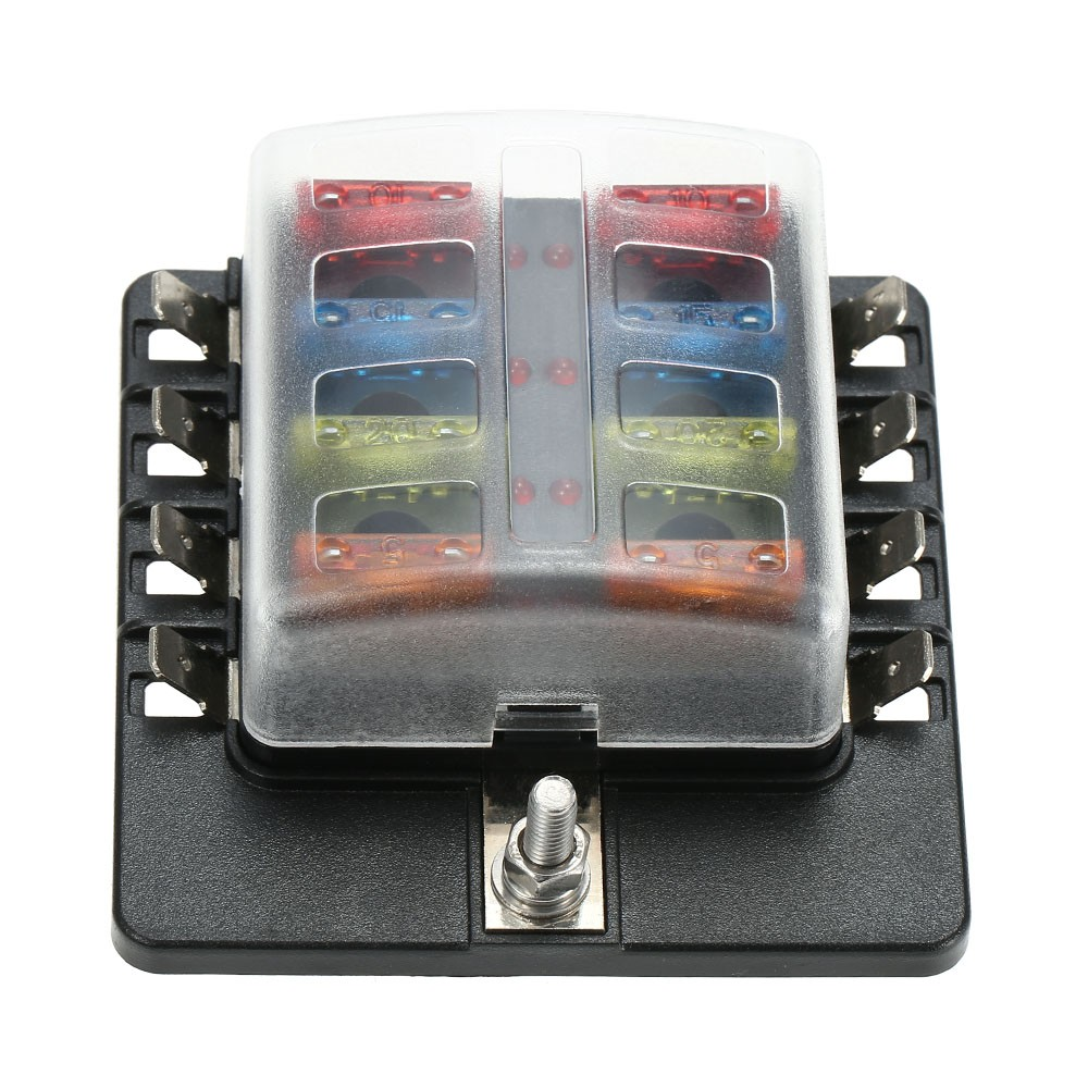 8 Way Blade Fuse Block Box Holder With Led Warning Light For Car Boat Marine Caravan 16 Fuses Sales Online Tomtop