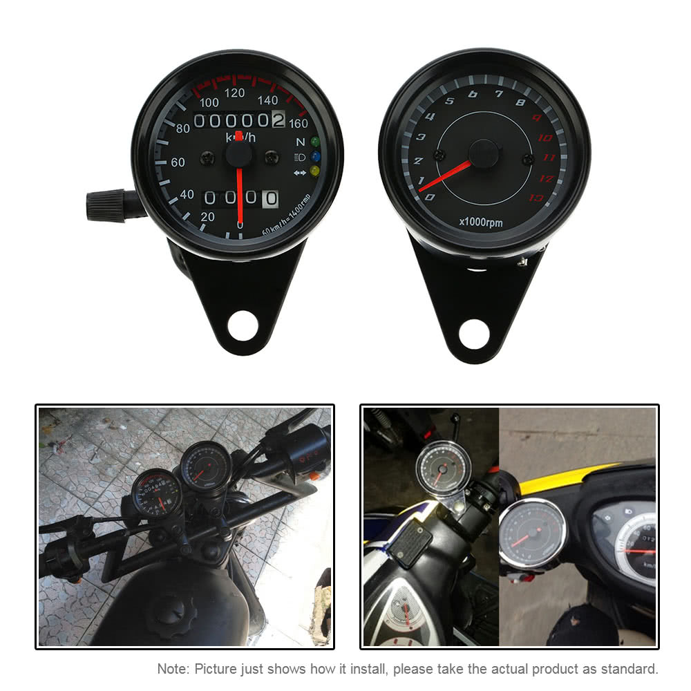 12V Motorcycle 13000 RPM Tachometer Km/h Speedometer Dual Odometer Gauge  with LED Backlight Signal Lights